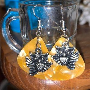 New OWL Pierced Dangle owl earrings